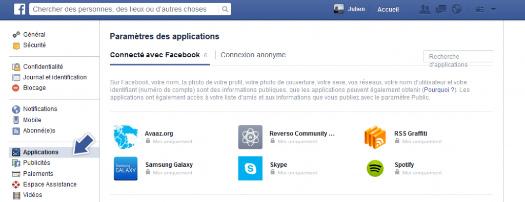 applications facebook données personnelles