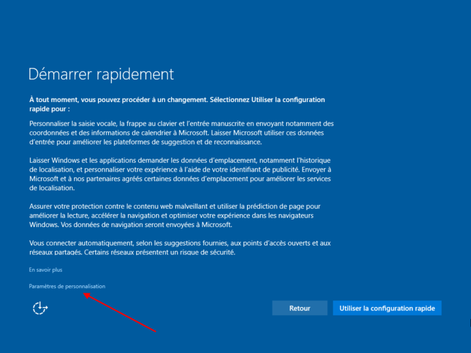 Capture écran de l'installation de windows 10