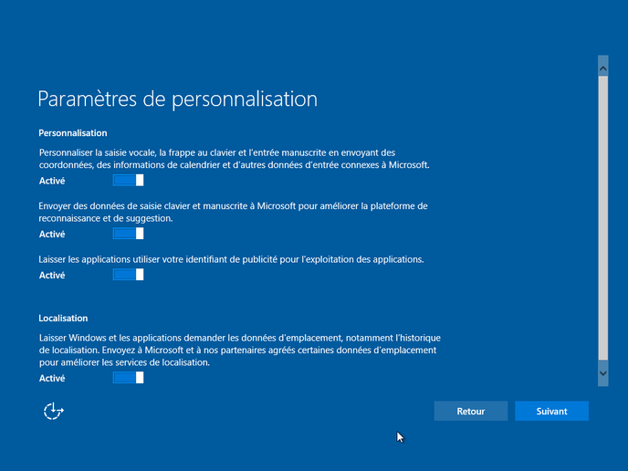 option confidentialité windows 10